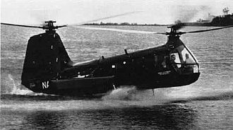 Amphibious helicopter - A Vertol HUP Retriever lands on water