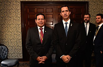 Juan Guaidó - Juan Guaidó with the Vice-president of Brazil, Hamilton Mourão