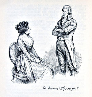 "Romance novel -  ""Oh Edward! How can you?"", a late 19th-century illustration from Sense and Sensibility (1811) by Jane Austen, a pioneer of the genre"