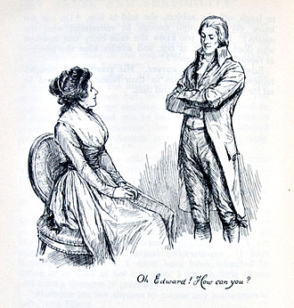 "Romance novel - ""Oh Edward! How can you?"", a late-19th-century illustration from Sense and Sensibility (1811) by Jane Austen, a pioneer of the genre"
