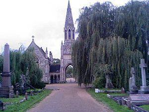 Hampstead Cemetery - One of the Neogothic chapels and the central porte-cochère