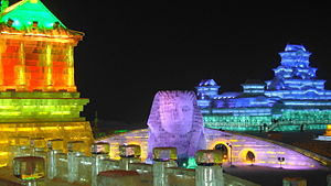 Harbin International Ice and Snow Sculpture Festival - Ice sculpture of the Sphinx erected for the 2010 festival