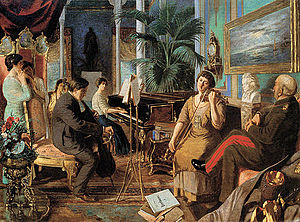 Circassian beauties - Circassian noblewoman playing violin at an Ottoman summer palace