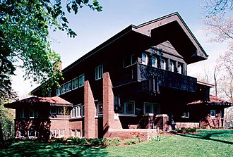 Prairie School - Harold C. Bradley House, Madison, Wisconsin, by Louis Sullivan and George Grant Elmslie