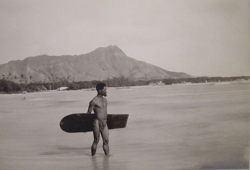 Hawaiian Man with Alaia Surfboard