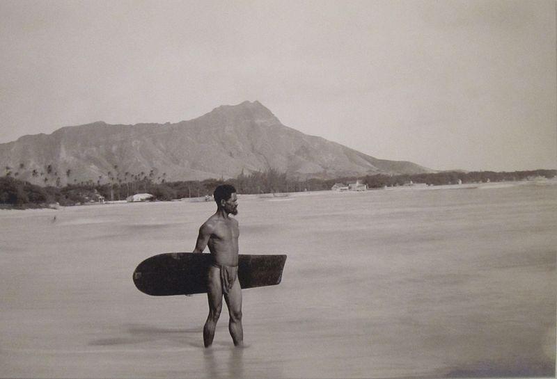 Hawaiian Man with Alaia Surfboard