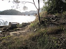 Long Island-The Railway-Hawkesbury River Railway Bridge as seen from the bridge construction site on Long Island
