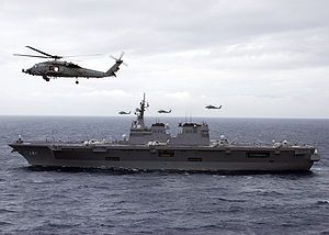Hyūga-class helicopter destroyer - JS Hyūga with helicopters in operation