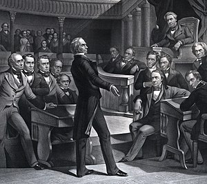 An engraving of Henry Clay speaking in the Old Senate Chamber with Fillmore seated in the upper right presiding