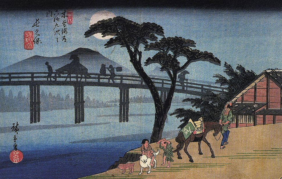 Hiroshige Man on horseback crossing a bridge