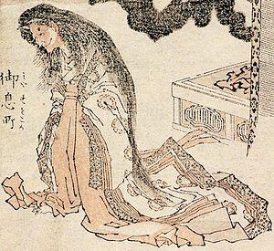 """Lady Rokujō - Lady Rokujo depicted as an ikiryō in the work titled """"Aoi no Ue"""" (葵上) from the Hokusai Manga by Katsushika Hokusai"""
