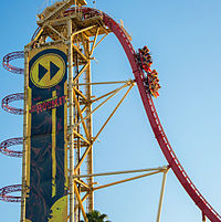 One of Hollywood Rip Ride Rockit's vehicles entering the first drop after the vertical lift hill.