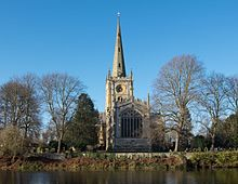 Holy Trinity Church, Stratford-upon-Avon, where Shakespeare was baptised and is buried (Source: Wikimedia)