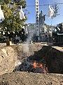 Homa fire and sculpture of Nichiren in Higashi Park, Fukuoka.jpg