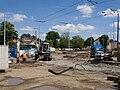 Hradčanská, budování tramvajového oblouku.jpg