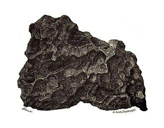 Hraschina meteorite - Drawing of the main mass