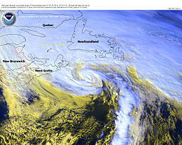 Satellite photo of a hurricane approaching Newfoundland