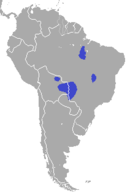 Central South America around the Bolivia/Brazil/Paraguay border with scattered populations in eastern Brazil