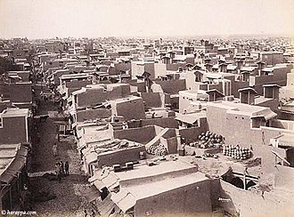 Hyderabad, Sindh - A rare photograph of Hyderabad from the late 1800s. The triangular structures on the rooftops are wind catchers, funnelling the cool breeze into the homes below, called a moug.