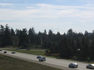 Interstate 5 in Washington - Interstate 5 through Lacey, with Mount Rainier in the background