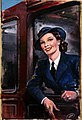 INF3-112 Forces Recruitment WRNS rating at railway carriage window Artist Davis.jpg