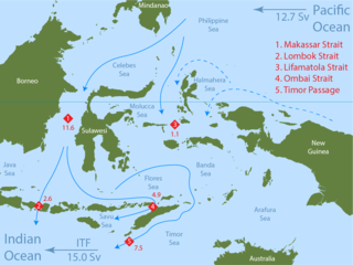Ocean current that provides a low-latitude pathway for warm, relatively fresh water to move from the Pacific to the Indian Ocean