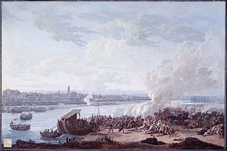 Giuseppe Pietro Bagetti - The French Pass the River Po at Piacenza, by Giuseppe Pietro Bagetti, 1803