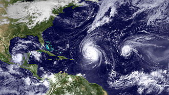 2010 Atlantic hurricane season - Satellite image of three simultaneous tropical cyclones on September 16. From left to right: Karl, Igor and Julia