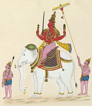 Indra - Painting of Indra on his elephant mount, Airavata.