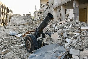 Improvised artillery in the Syrian Civil War - A hell cannon found after the battle of Aleppo in December 2016.