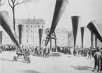 Weather modification - Hail cannons at an international congress on hail shooting held in 1901