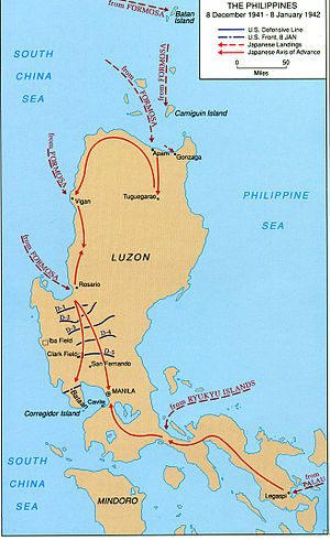 Japanese invasion of Lingayen Gulf - Map of Luzon Island showing Japanese landings and advances from 8 December 1941 to 8 January 1942
