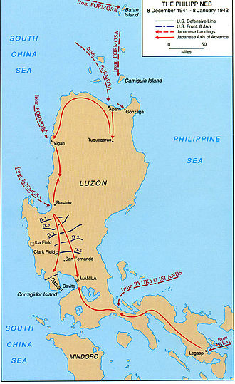 Philippines Campaign (1941–42) - A map of Luzon Island showing Japanese landings and advances from 8 December 1941 to 8 January 1942