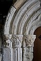 Iona Abbey - interior, detail of carved stone capitals and arch.jpg