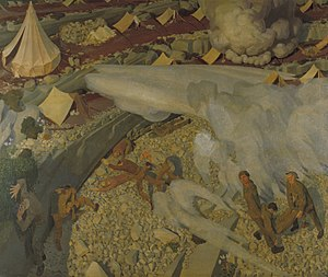 Hall of Remembrance - Irish Troops in the Judaean Hills Surprised by a Turkish Bombardment by Henry Lamb