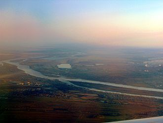 Irtysh River - An aerial view of the Irtysh in Omsk