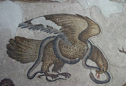 Eagle and Snake, 6th century mosaic flooring Constantinople, Grand Imperial Palace. Istanbull - palasset - 13.jpg