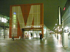 East Helsinki - Entrance into Itäkeskus metro station. The Helsinki Metro forms the core of public transport in East Helsinki.