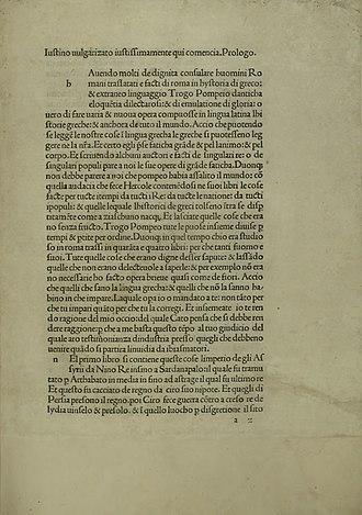 Justin (historian) - Epitome historiarum Trogi Pompeii