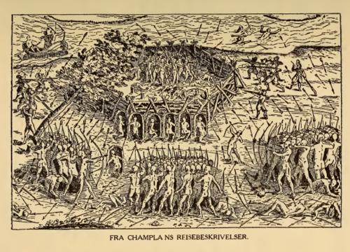 Fra Champlains reisebeskrivelser. Illustrasjon fra P.P. Iverslie: Gustav Storms studier over Vinlandsreiserne. Publ. 1912. Minneapolis.