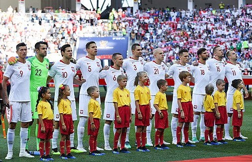 The Poland national team line-up before the third and final group game against Japan; on 28 June. Poland won the game 1-0. JAP-POL (16).jpg