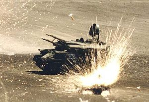 BLU-97/B Combined Effects Bomb - A ZSU-23-4 targeted by munitions missile AGM-154 Joint Standoff Weapon during an exercise.
