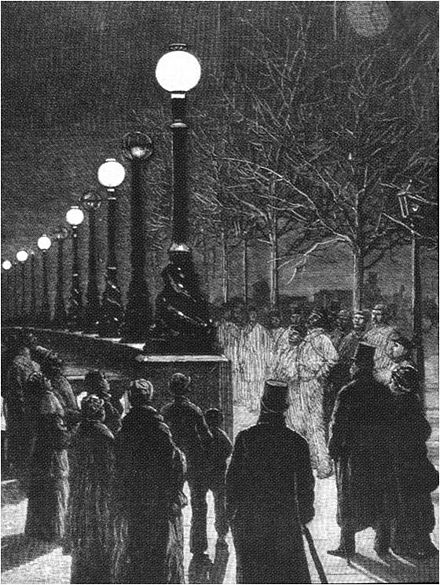 Electric light provided by Yablochkov candles in December 1878. Jablochkoff Candles on the Victoria Embankment, December 1878.jpg