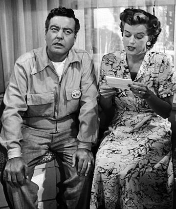 Gleason and Rosemary DeCamp as Chester and Peg Riley in The Life of Riley