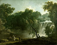 Painting of a waterfall with small human figures.