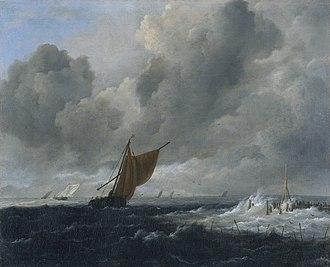 Rough Sea at a Jetty - Image: Jacob Isaacksz. van Ruisdael Stormachtige zee met zeilschepen