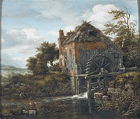 Water mill near a farm
