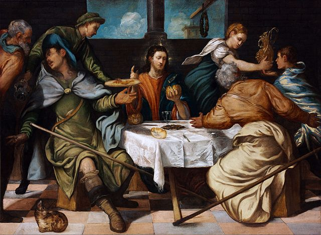 A painting of the supper at Emmaus by Tintoretto