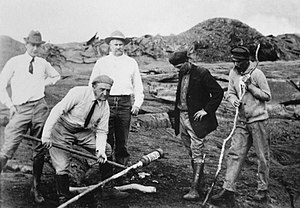 Hawaii Republican Party - Measuring lava at Halema'uma'u, Kilauea, Hawaiian Volcano Observatory in 1917. Left to right, Norton Twigg-Smith, Thomas Jaggar, Lorrin Thurston, Joe Monez, and Alex Lancaster.