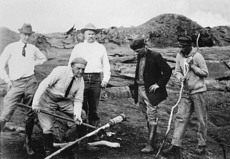 Lorrin A. Thurston - Thurston (center) at the volcano in 1917